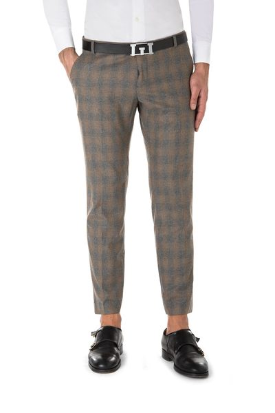Plaid mud-coloured American pocket short trouser