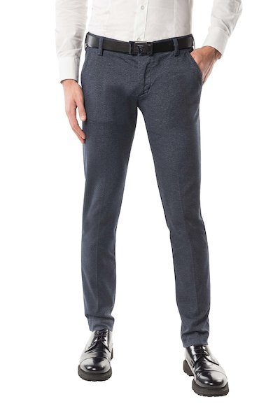Navy blue long cotton trouser with American pocket