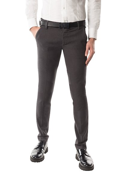 Micro patterned cotton long trouser with American pocket