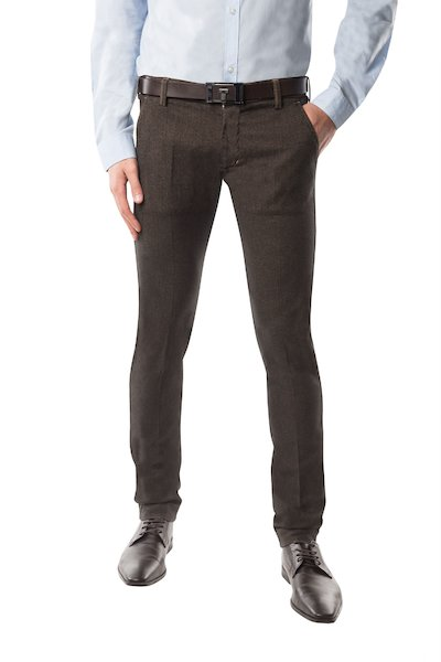 Brown long cotton trouser with American pocket