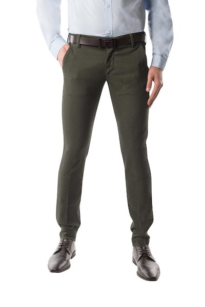 Military green long cotton trouser with American pocket