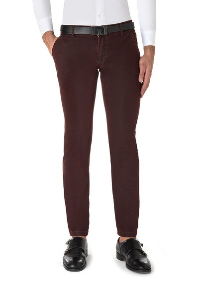 Long American pocket bordeaux trouser with  back patch pockets