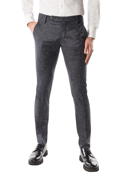 Long wool trouser with American pocket and long strap