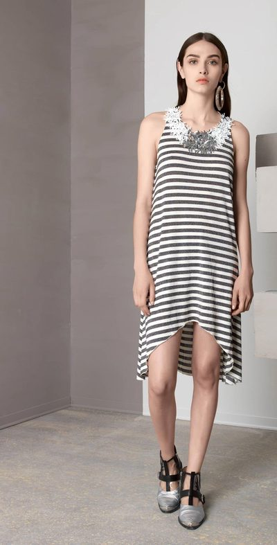 Black-creamy striped dress