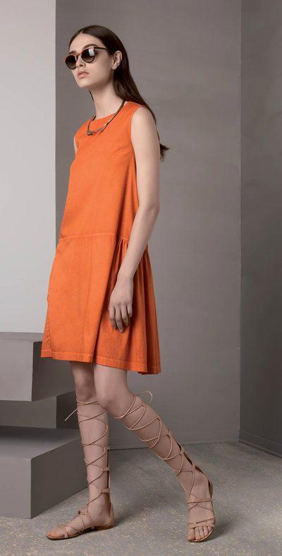 Pumpkin dress with ruffle
