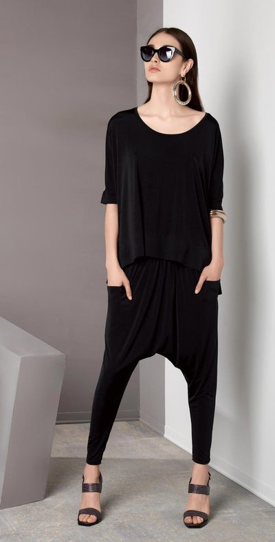 Canvas-backed black blouse