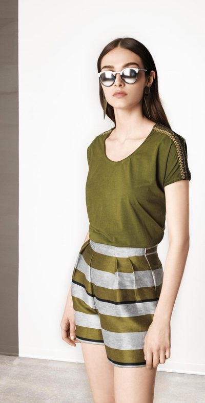 Olive sweater with applications
