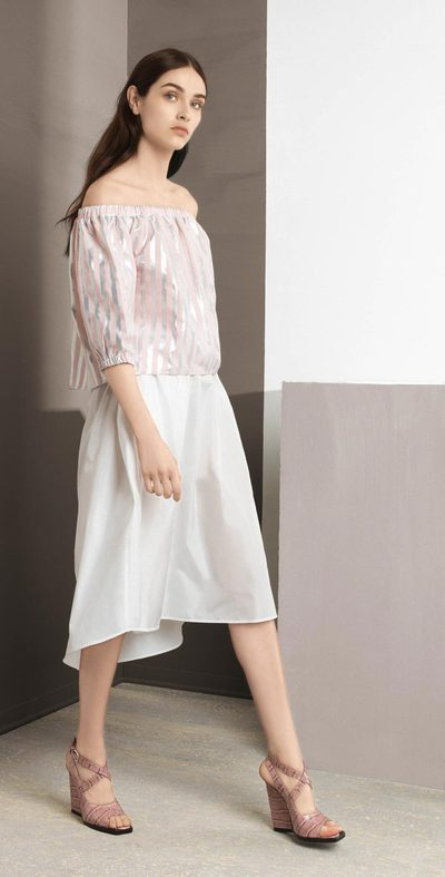 Silver-Pink blouse with pleat detail