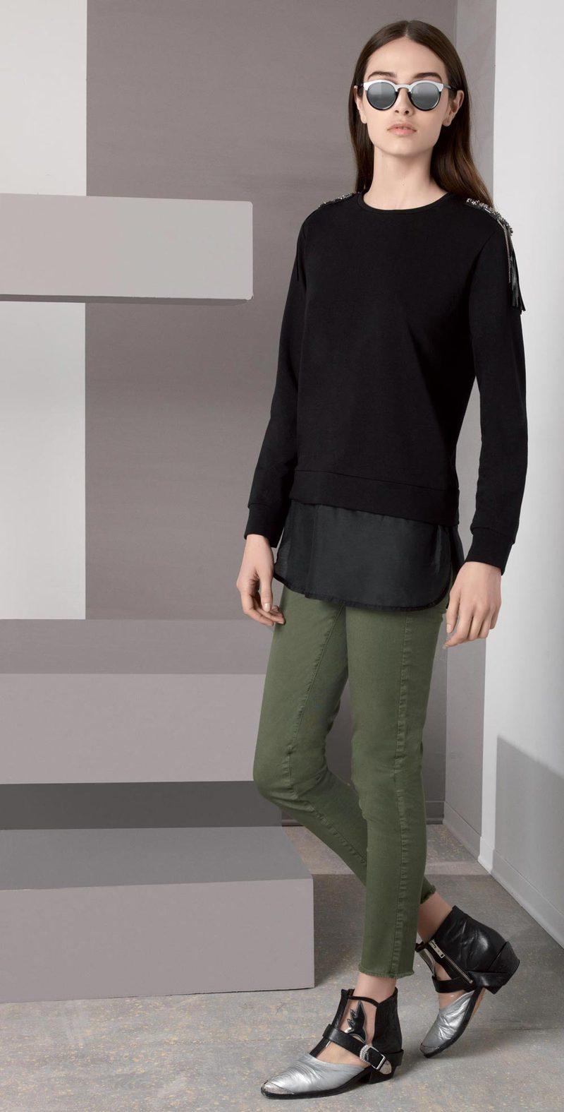 Black sweatshirt with applications