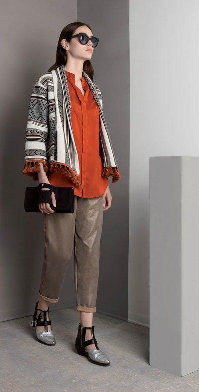 Pantalone bronzo con risvolto