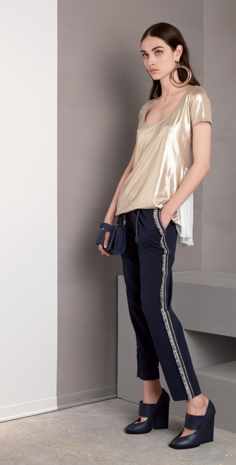 Blue pants with side fringes