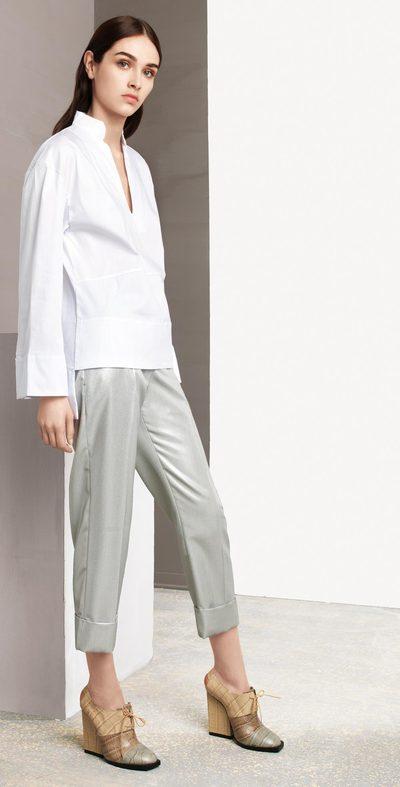 Pantalone laminato argento