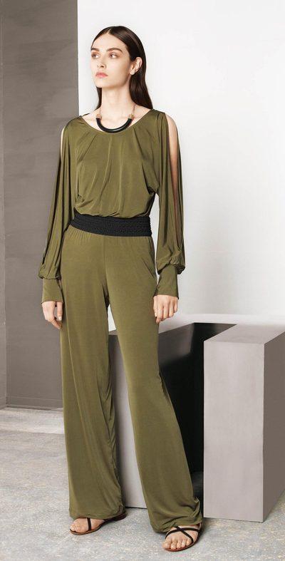 Olive jumpsuit with elastic waist