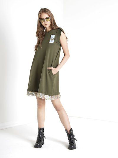 Dress with lace and military applications