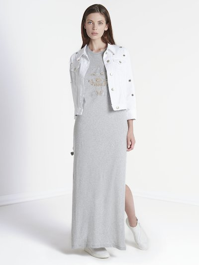 Long dress with front embroidery