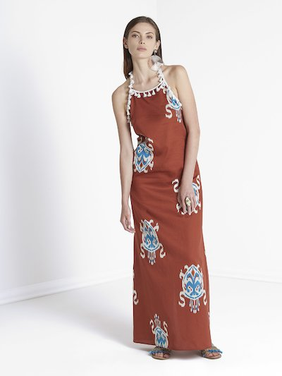 Long dress with tassels and Morocco pattern