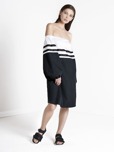 Long-sleeved  bicolor dress