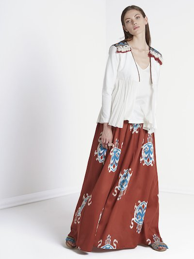 Morocco patterned long skirt