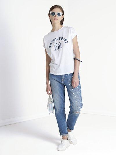 Jeans boyfriend con applicazione di perline