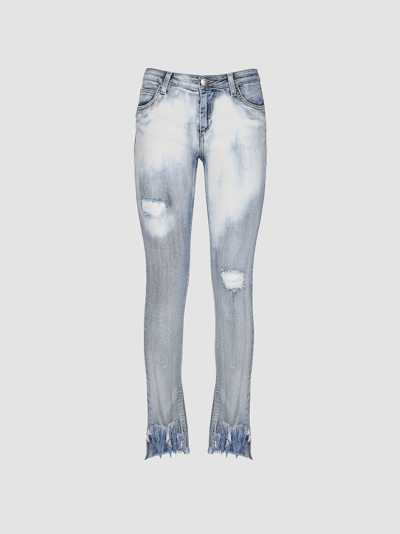Skinny plated denim