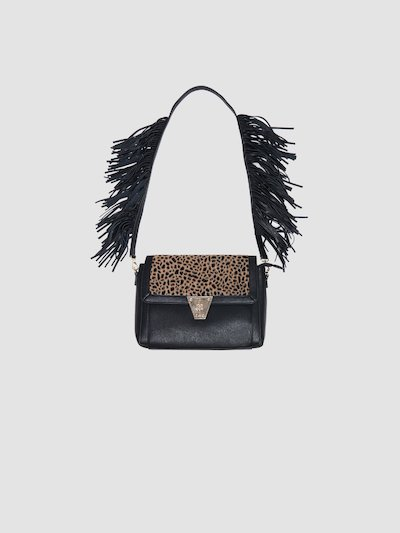Animalier spotted bag with fringes