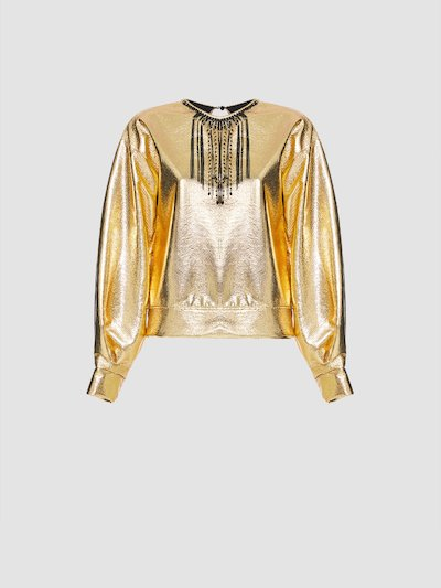 Gold sweatshirt with necklace