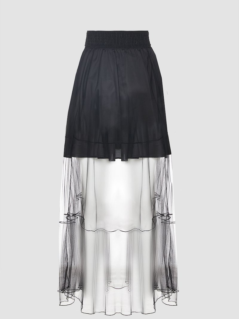 See-through black skirt