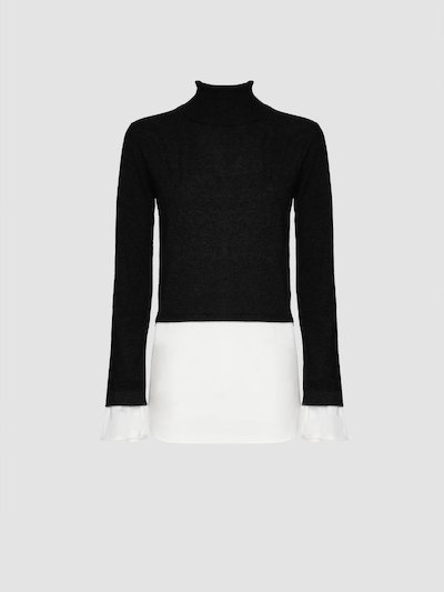Double color turtleneck sweater
