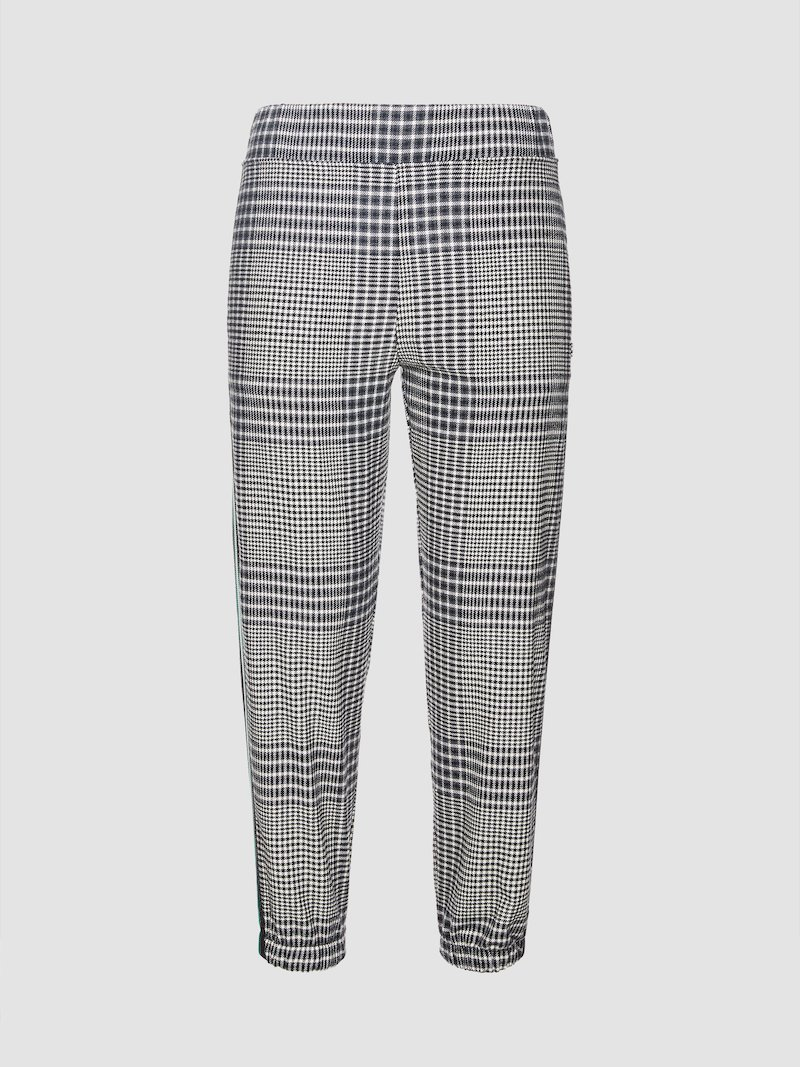 Checked trousers with elastic