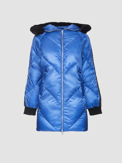 Quilted jacket with hood and fur