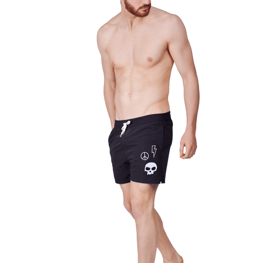 SWIMSHORTS BLACK WITH SKULL