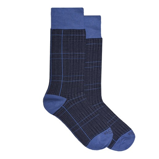 GLENCHECK BROWN AND LIGHT BLUE SOCKS