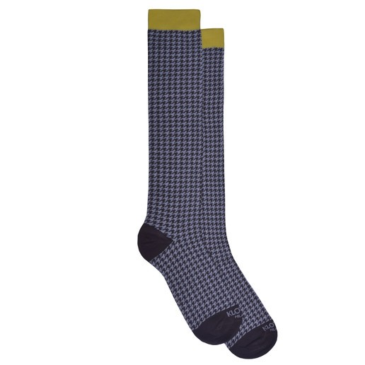 HOUNDSTOOTH GREY AND BROWN SOCKS