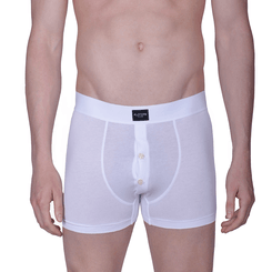 WHITE BOXER  BRIEFS WITH BUTTONS