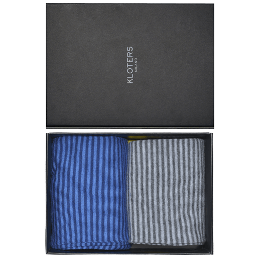 Blue and grey striped socks pack