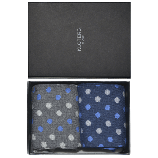 Grey and blue polka dots socks pack