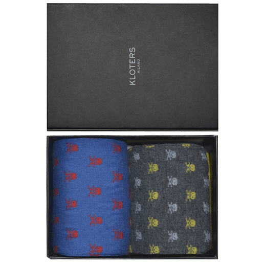 Grey and blue skulls socks pack