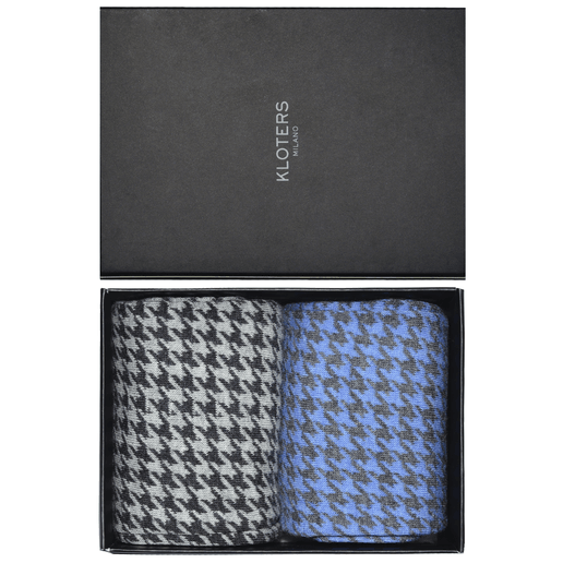 Light blue and grey houndstooth socks pack