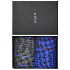 Blue and grey glencheck socks pack