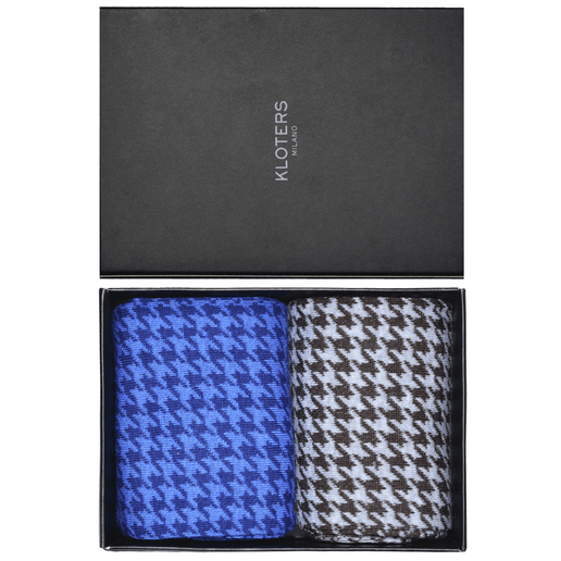 Light blue and brown hounstooth socks pack