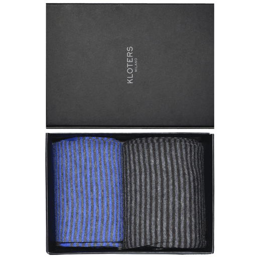 Light blue and grey striped socks pack