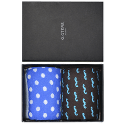 Polka dots and moustache fantasy socks pack