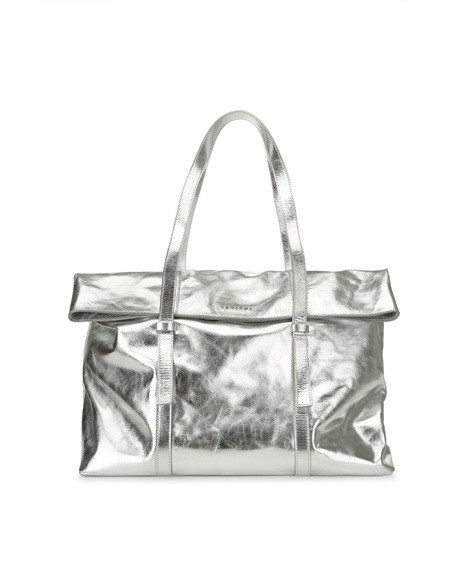 Orciani METALLIC LEATHER TOTE BAG