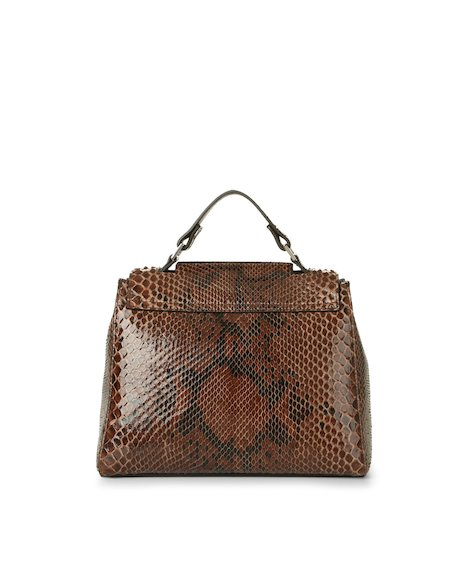 Orciani DIAMOND PYTHON LEATHER SMALL SVEVA BAG WITH STRAP