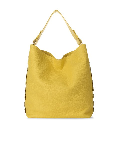 Orciani SOFT FLOWER LEATHER BUCKET BAG