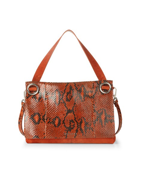 Orciani PRECIOUS PYTHON LEATHER AND SUEDE SHOULDER BAG
