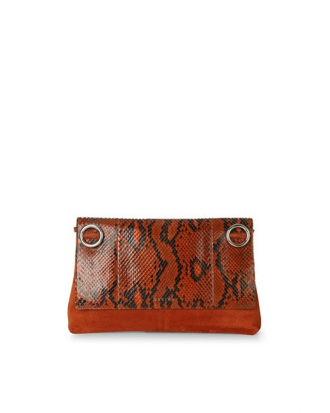 Orciani PRECIOUS PYTHON LEATHER AND SUEDE CLUTCH