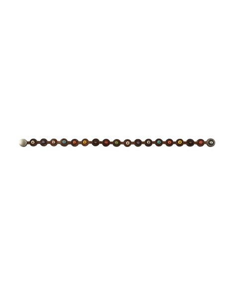 Orciani POINT MICRO STUDDED LEATHER BRACELET