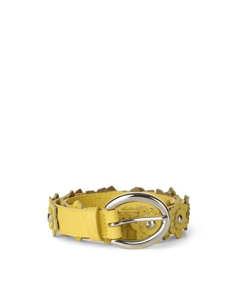 Orciani SOFT FLOWER MICRO STUDDED LEATHER BELT