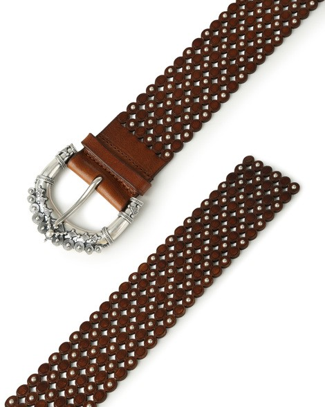Orciani STAIN HIGH WAIST MICRO STUDDED LEATHER BELT